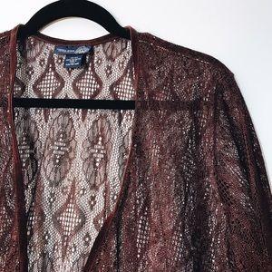 Venezia Tops - Venezia Jeans Fringed Maroon Lace Top