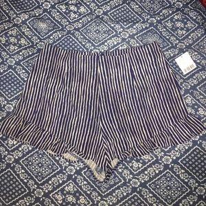 Navy Blue Motif Striped Sailor high waisted shorts