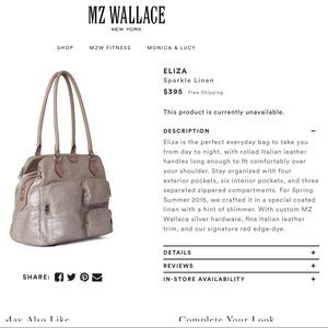 MZ Wallace Handbags - MZW Eliza Sparkle Linen, tons of pockets, retired!
