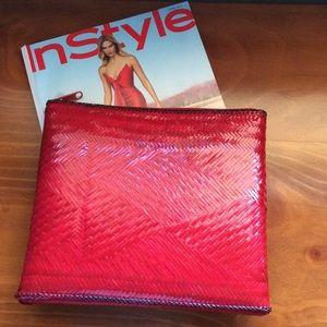 Handbags - Red Straw clutch with zipper