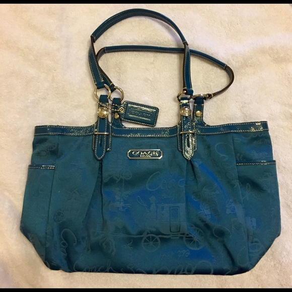 b1f57a337ac Coach Handbags - COACH TEAL HORSE   CARRIAGE GALLERY HANGBAG