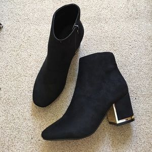 Krush Shoes - Black Booties w/Gold Accent