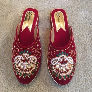  Handmade Embroidered Velvet Mule Loafers