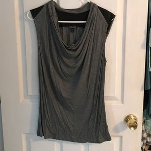 Express Tops - Express Leather Trimmed Tank Top