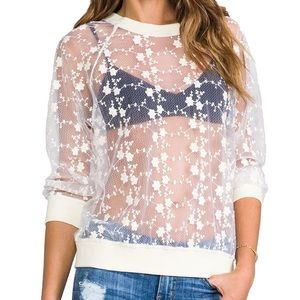 Line & Dot Tops - Line and dot sheer embroidered lace sweatshirt