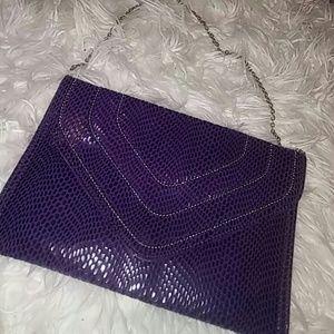 Jennifer Lopez Handbags - Purple Snakeskin Look Clutch
