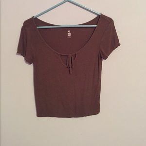 Cropped tied front shirt