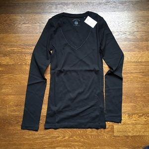 J. Crew black v-neck long-sleeve cotton tee NWT