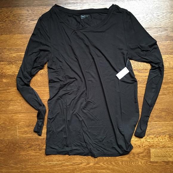 GAP Tops - Gap Body long-sleeve black crew neck tee NWT