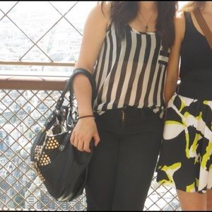 Nasty Gal Tops - Sheer black and white striped tank