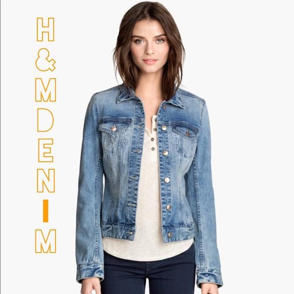 top-rated fashion timeless design popular stores {h+m} • denim jacket • light-med wash • size six •