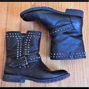 Bamboo Black Studded Moto Boots Sz 6.5