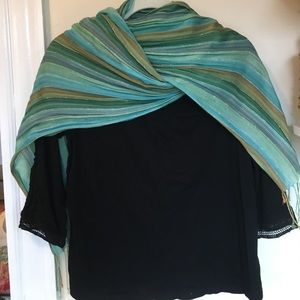 Accessories - Green and tan stripe scarf