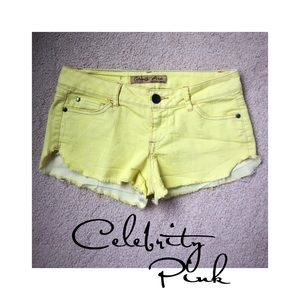 Celebrity Pink Pants - Celebrity Pink yellow distressed shorts 3