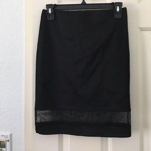 Mesh trim pencil skirt