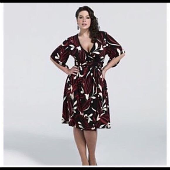 Kiyonna Dresses | Sale Plus Size Faux Wrap Slimming Dress | Poshmark