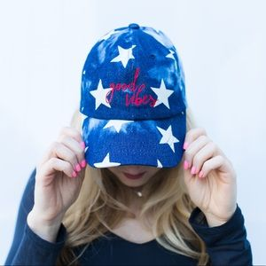 Friday Apparel Accessories - Good Vibes Hat in Star Denim (4th of July)