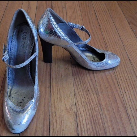 J. Crew Shoes - SALE! J. Crew Metallic Silver Heels Sz 7
