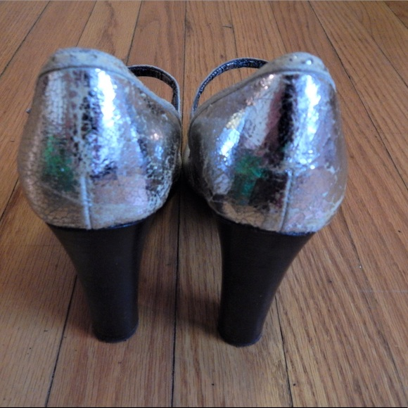 J. Crew Shoes - J. Crew Metallic Silver Ankle Strap Heels Sz 7