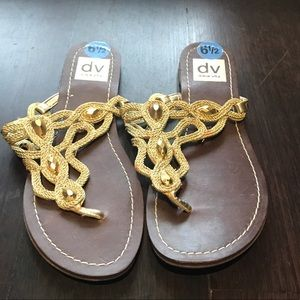 DOLCE VITA Gold and Brown Slip on Sandals