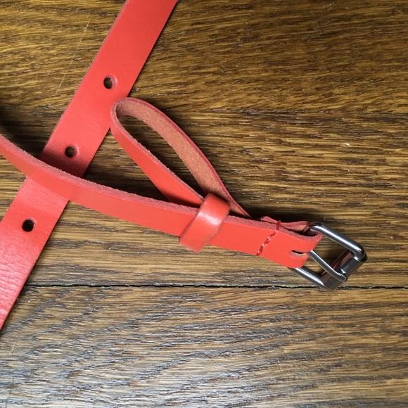 GAP Accessories - Gap orange leather skinny belt