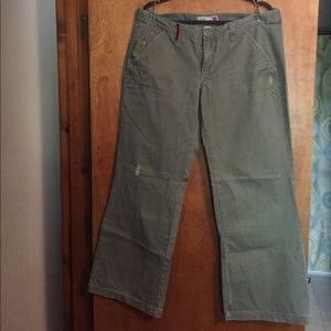 Ultra low waist distressed army green pants