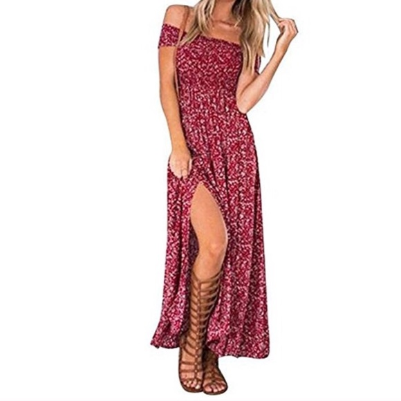 Dresses - red summer maxi floral dress slit off the shoulder