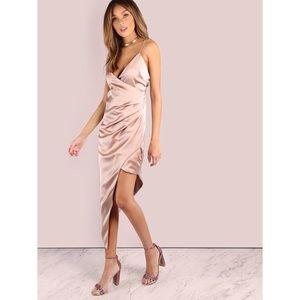 ❗️LAST❗️Champagne Blush Asymmetrical Satin Dress