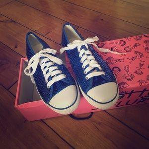 Gotta Flurt Shoes - Blue Sparkley Disco Low Tops