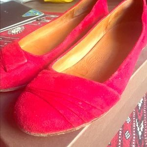 Chie Mihara Shoes - Red Suede Italian Leather Ballet Flats
