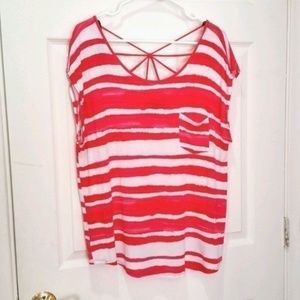 F21 red & white stripe blouse