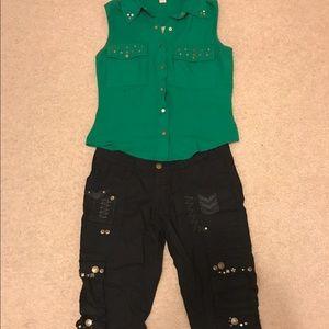 BKE Pants - Black cargo capris & green military top