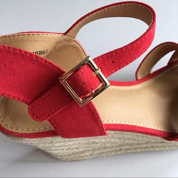 NWOT Red Peep Toe Wedge Sandals From