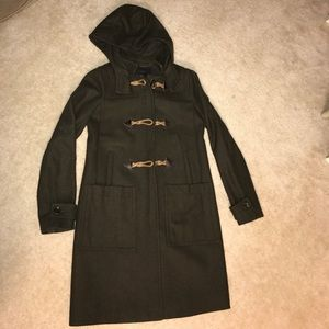 J crew Wool toggle melon coat olive green