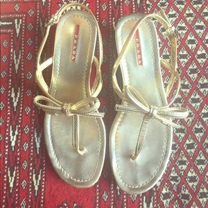 Gold Prada Bow Sandals