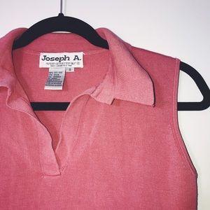 Joseph Allen Tops - Joseph A. Pink Sleeveless Collared Tee