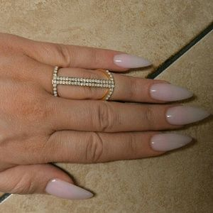 Jewelry - Brand New Gold Midi Knuckle Pave Bar Ring