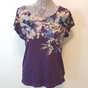 Express Tops - EXPRESS sequin floral top dreamweight cotton