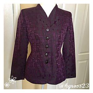 Sag Harbor Jackets & Blazers - Sag Harbor geometric print purple blazer