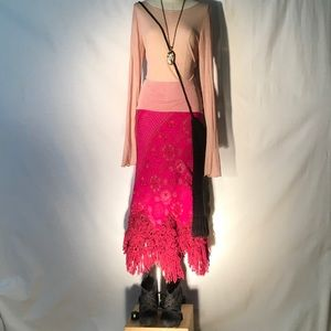 Oilily Dresses & Skirts - Oilily magenta brocade midi-crochet/fringe hem