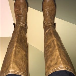 Camel colored high zip boots