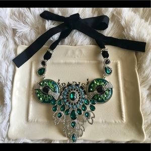 "Bedecked & Bedazzled Jewelry - ""Marie"" Art Deco Emerald Statement Necklace"