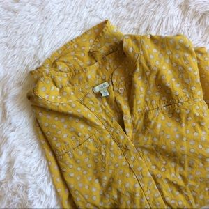 ANTHROPOLOGIE yellow 3/4 sleeve tunic style top