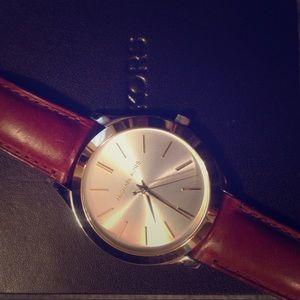 Michael Kors Accessories - MICHAEL KORS light brown leather watch