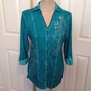 Reba Tops - Reba Teal Rhinestone & Lace Textured Acid Wash Top