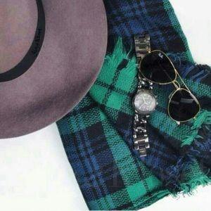 Accessories - Accessories    Navy green plaid blanket scarf