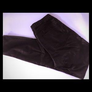 Zara Black Faux Leather Leggings Zipper Ankle