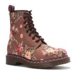 Dr. Martens Shoes - Dr Martens Taupe Victorian Floral Boots