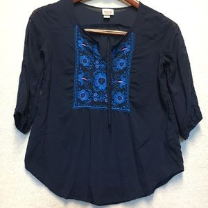 Mossimo Tops - SALE: Mossimo Blue Blouse with Floral Embroidery
