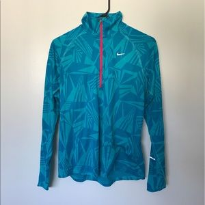 nike long sleeve 1/4 zip electric blue running top